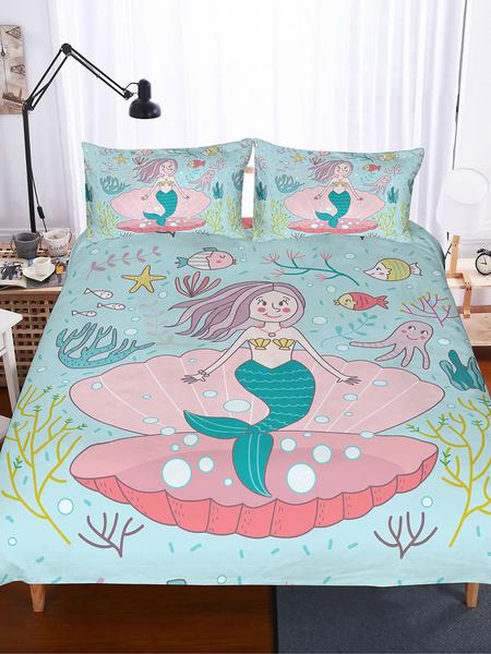 Milanoo Bedding Set 3-Piece Polyester Fiber Blue Fairy Tale Bedding
