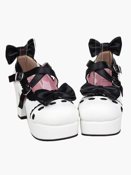 Milanoo Glorious White High Heels Platform PU Womens Lolita Shoes