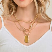 Set Of Two Double Layered Tag Pendent Necklaces