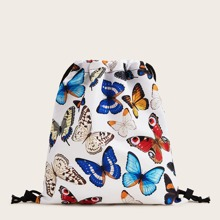 Butterfly Print Drawstring Backpack