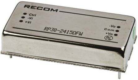 Recom RP30 FW 30W Isolated DC-DC Converter Through Hole, Voltage in 9 → 36 V dc, Voltage out ±15V dc