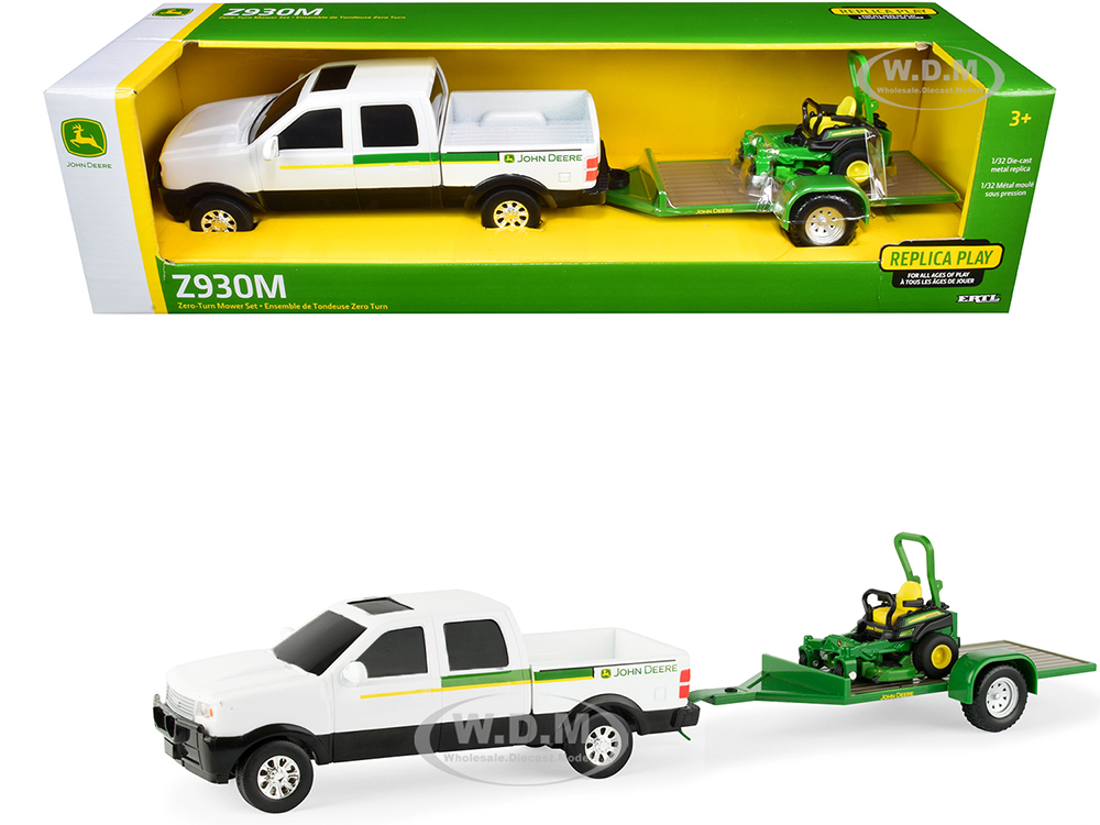 Pickup Truck White with Flatbed Trailer and John Deere Zero-Turn Mower Set of 3 pieces 1/32 Diecast Models by ERTL TOMY