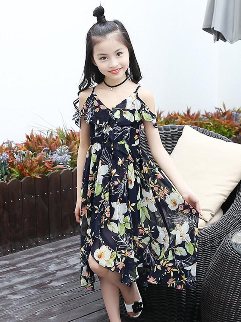 Ericdress Chiffon Asymmetric Floral Beach Girls Dress