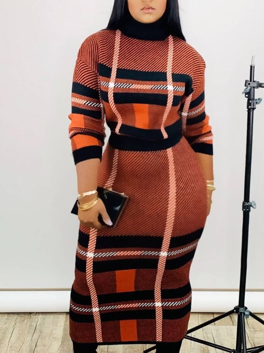 LW Lovely Casual Turtleneck Print Skinny Croci Ankle Length Plus Size Dress