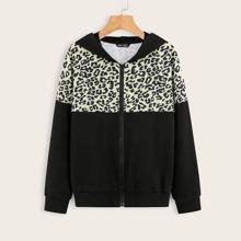 Jacke mit Leopard Muster, Reissverschluss und Kapuze