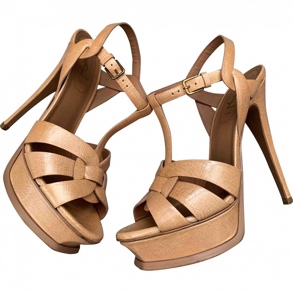 Yves Saint Laurent Tribute Beige Leather Sandals for Women 37.5 EU