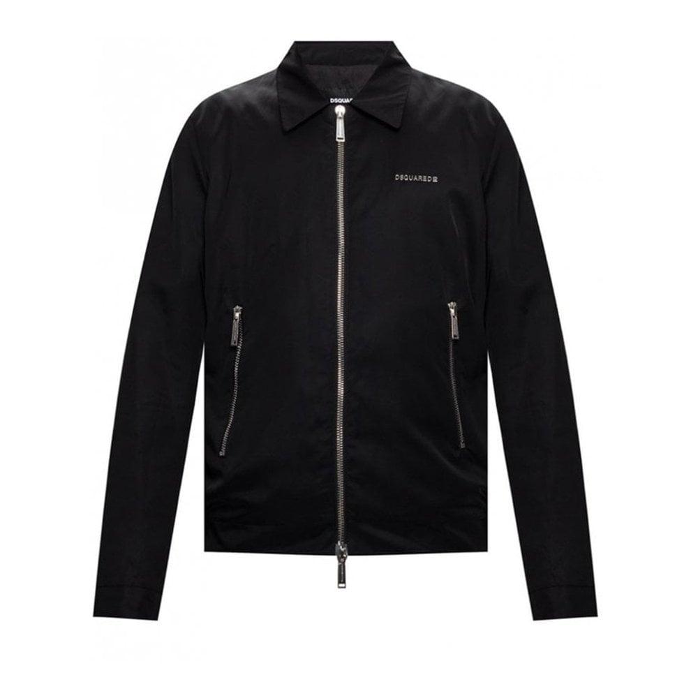 Dsquared2 Logo Zipped Jacket Colour: BLACK, Size: EXTRA LARGE