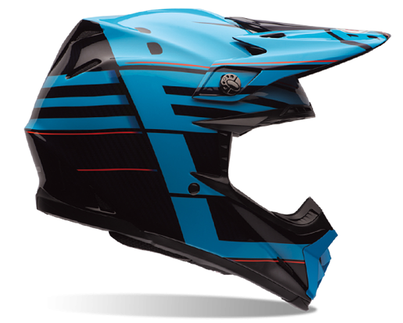 Bell Racing 7062856 Moto-9 Carbon Blocked Blue Helmet 54-55 | XS