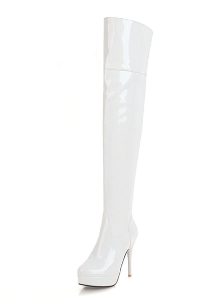 Milanoo Platform Thigh High Boots Womens PU Almond Toe Stiletto Heel Over The Knee Boots