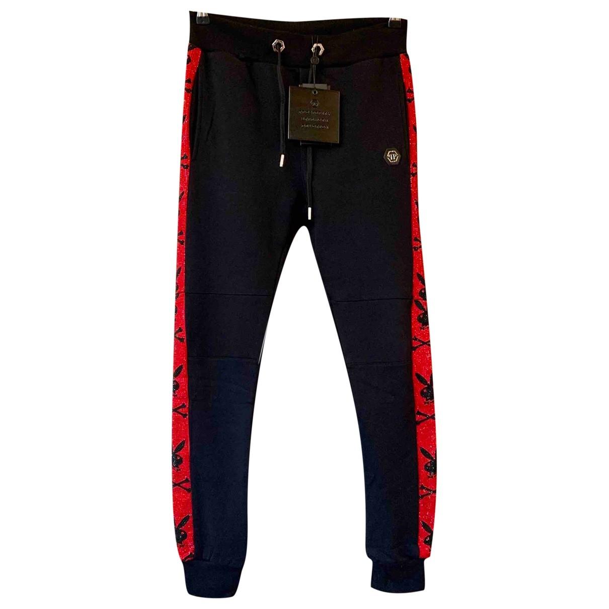 Philipp Plein \N Black Cotton Trousers for Women M International