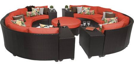 Barbados BARBADOS-11b-TANGERINE 11-Piece Wicker Patio Set 11b with 2 Armless Chairs  4 Curved Armless Sofas  4 Cup Tables and 1 Coffee Table - Wheat