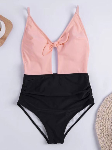 Milanoo One Piece Swimsuit Two Tone Backless Knotted Beach Bathing Suit