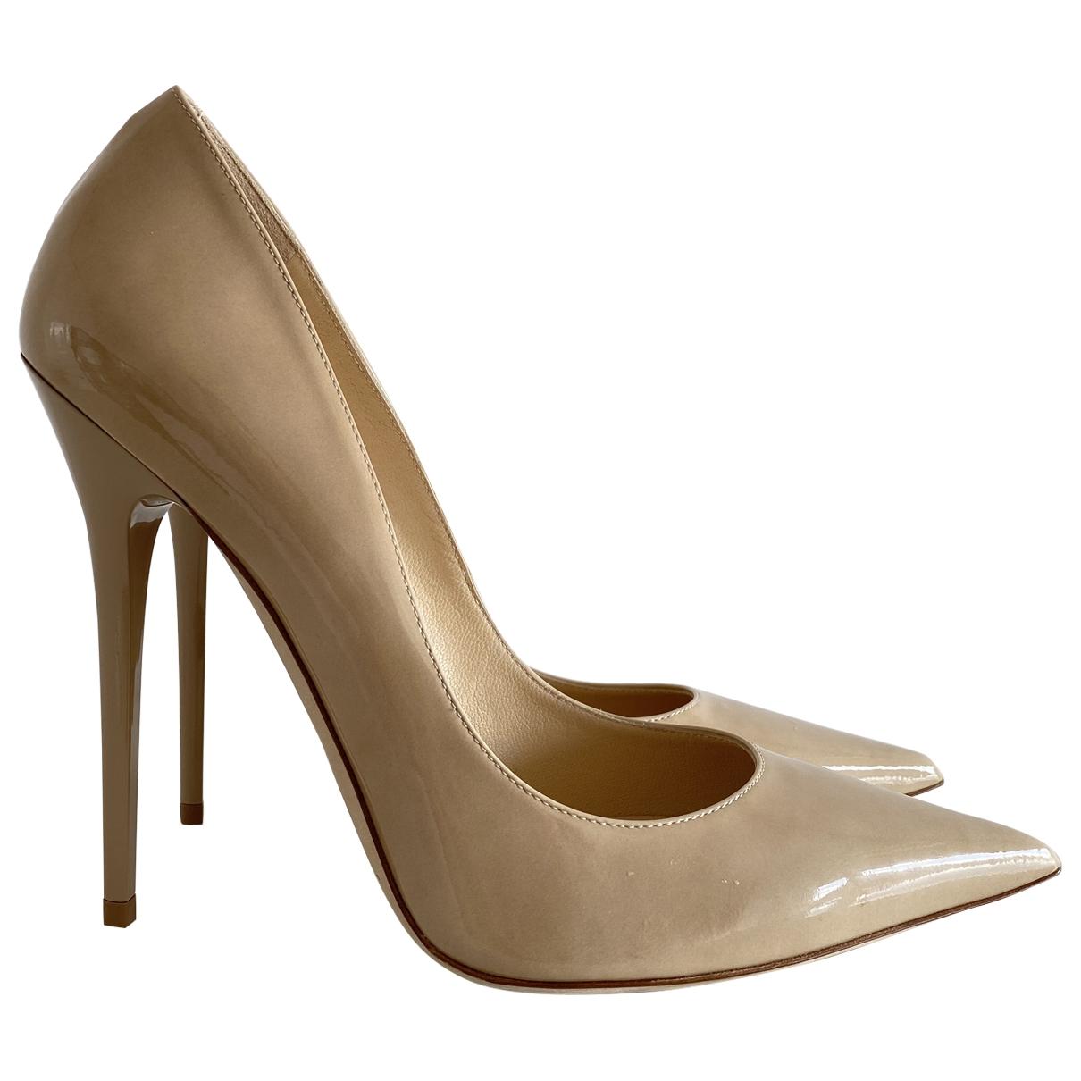 Jimmy Choo Anouk Beige Patent leather Heels for Women 40 EU