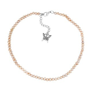 Handmade Cute String of Pink Pearls and Butterfly Charm Bracelet or Choker Necklace (Thailand) (Pink)
