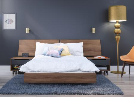 400691 Alibi 4 Piece Full Size Bedroom Set with Platform Bed + Headboard + 2 Nightstand  in Walnut Laminate  And Charcoal Matte