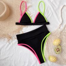 Contrast Binding Triangle High Cut Bikini Swimsuit