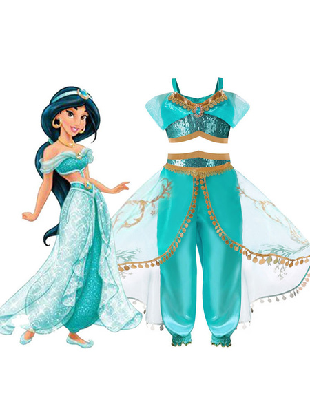 Milanoo Halloween Disfraz Carnaval Disfraz de dibujos animados de Disney Aladdin Princess Jasmine Kid Disfraz de Halloween Carnaval