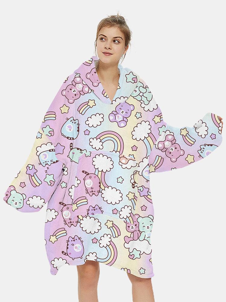 Women Cartoon Rainbow Cute Bear Print Thicken Home Oversized Blanket Hoodie Sweatshirt With Kangaroo Pocket