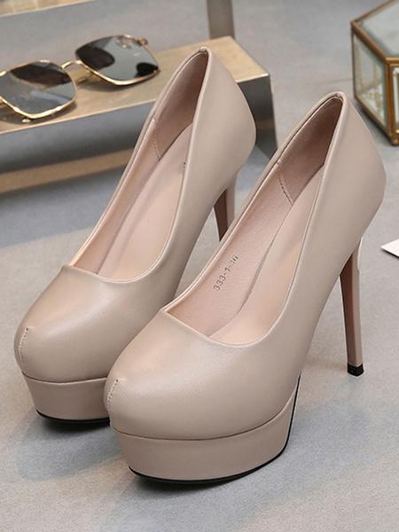 Milanoo Women's Platform Heels Round Toe Split Sole PU Stiletto Pumps Heeled Shoes