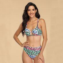Bikini Badeanzug mit Leopard Muster, Batik und Kreis Bindung