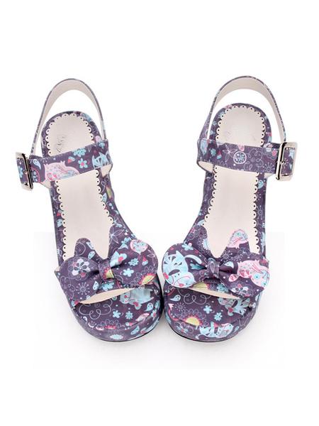 Milanoo Sandalias de Lolita dulce imprimir arco hebilla cuña tacon PU Lolita calzado