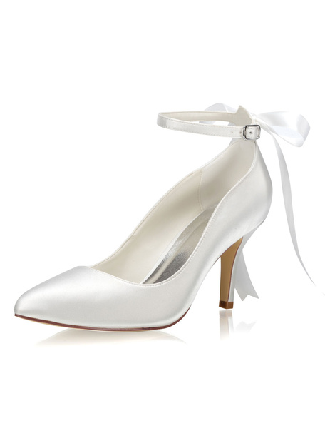 Milanoo Satin Wedding Shoes Ivory Pointed Toe Bow Ankle Strap Bridal High Heels