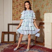 Girls Layered Ruffle Trim Metallic Dress