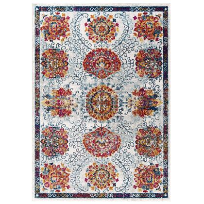 Entourage Collection R-1173A-810 Kensie Distressed Floral Moroccan Trellis 8x10 Area Rug in Ivory  Blue  Red Orange Yellow