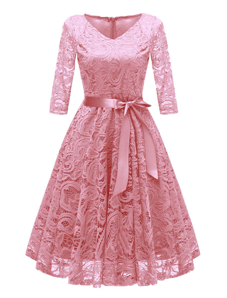 Milanoo Lace Vintage Dress V Neck Bows Solid Color Party Dress