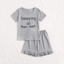 Conjunto de pijama de niñas con estampado de slogan y figura