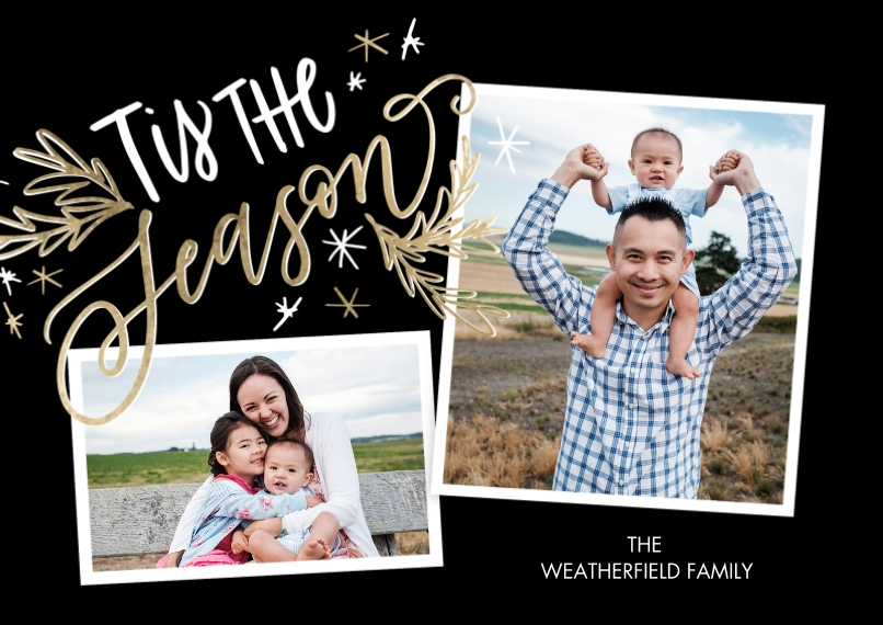 Christmas Photo Cards 5x7 Cards, Premium Cardstock 120lb with Elegant Corners, Card & Stationery -Christmas Tis the Season Stars by Tumbalina