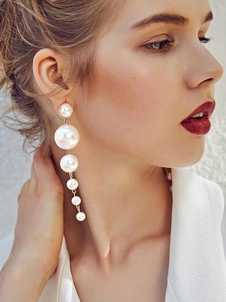 Milanoo Pendientes de perlas Pendientes de gota Pendientes de declaracion de mujeres