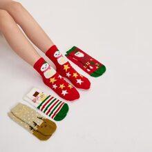 4pairs Christmas Cartoon Graphic Socks