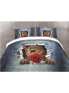Squirrel Holding a Rose and Hole Denim Printing Cotton 4-Piece 3D Bedding Sets/Duvet Covers