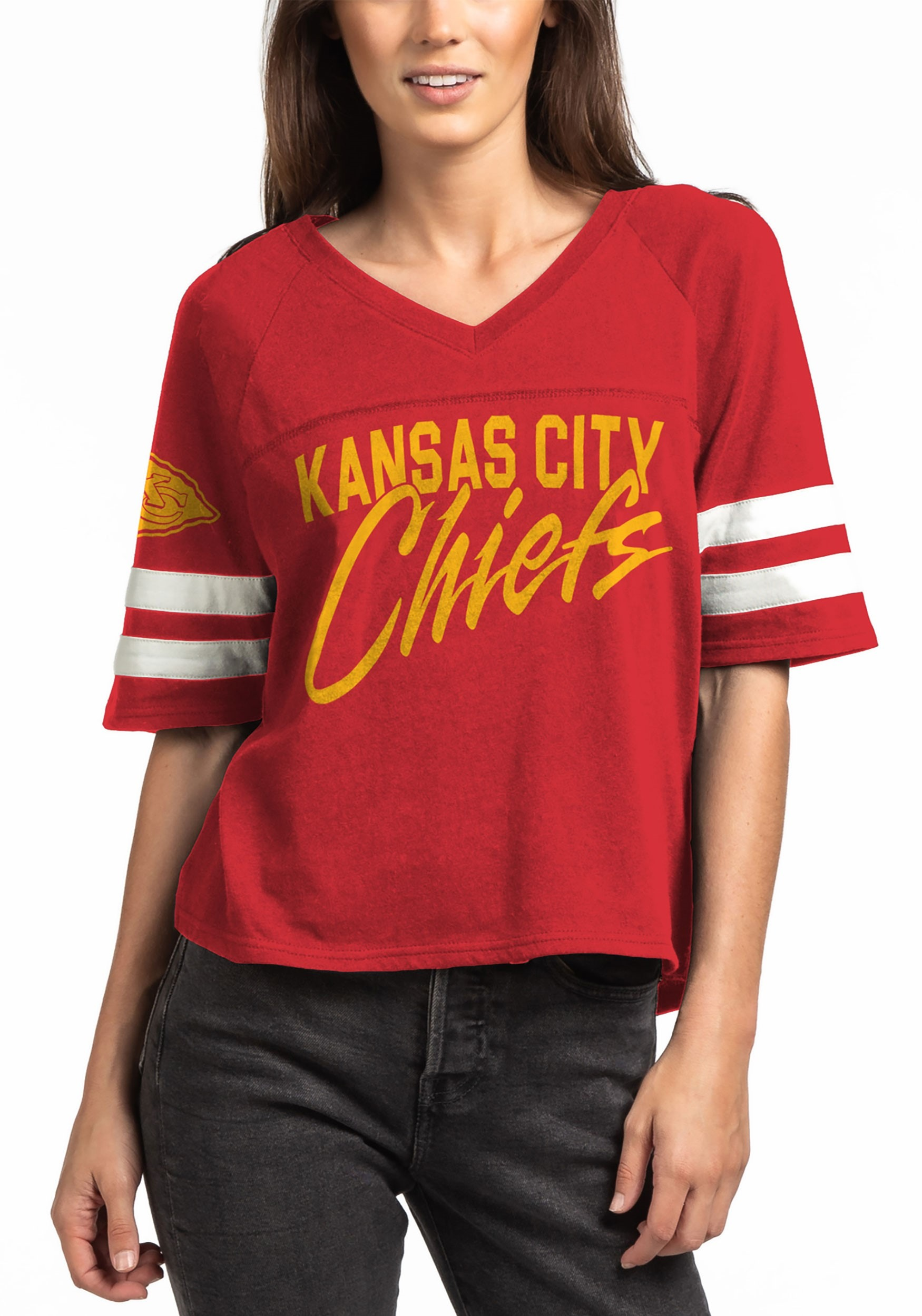 Womens Red Kansas City Chiefs V-Neck Football Tee