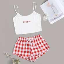 Conjunto de pijama top de tirante con estampado de letra con shorts de cuadros