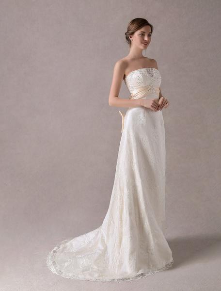 Milanoo Lace Wedding Dresses Strapless Ivory Beaded Satin Sash Bows Maxi Bridal Dress With Train