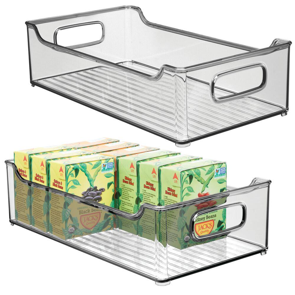 Large Plastic Kitchen Pantry Food Storage BinSmoke in Gray, 14.5