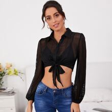 Button Front Tie Hem Sheer Striped Mesh Top Without Bra