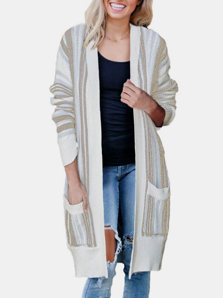 Striped Long Sleeve Pocket Loose Cardigan