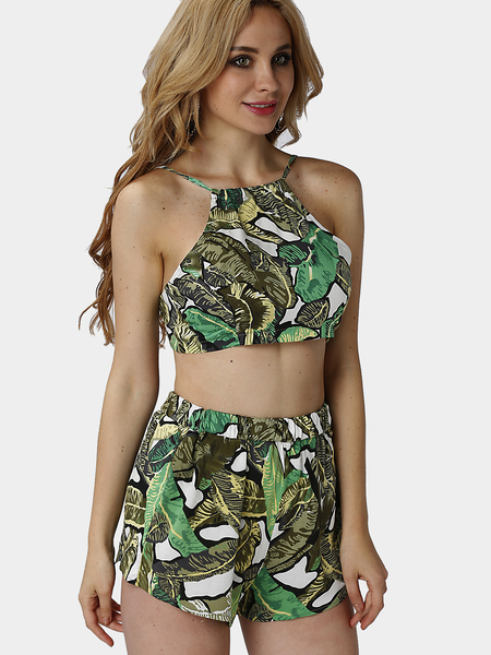 Yoins Green Foliage Print Self-tie Crop Top & Shorts Co-ord