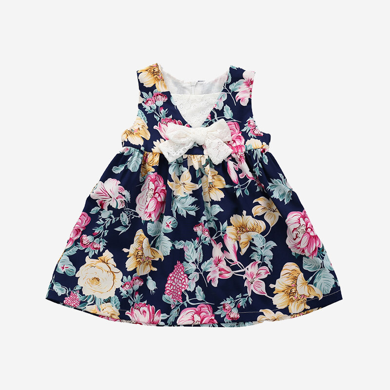 Girl's Floral Print Bowknot Lace Spliced Casual Sleeveless Dress For 1-5Y