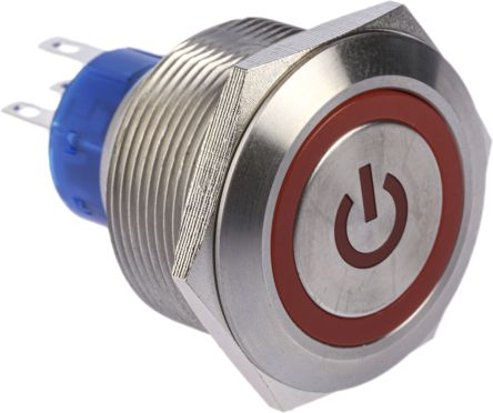 RS PRO Single Pole Double Throw (SPDT) Red LED Push Button Switch, IP67, 25.2 (Dia.)mm, Panel Mount, Power Symbol, 250V (20)