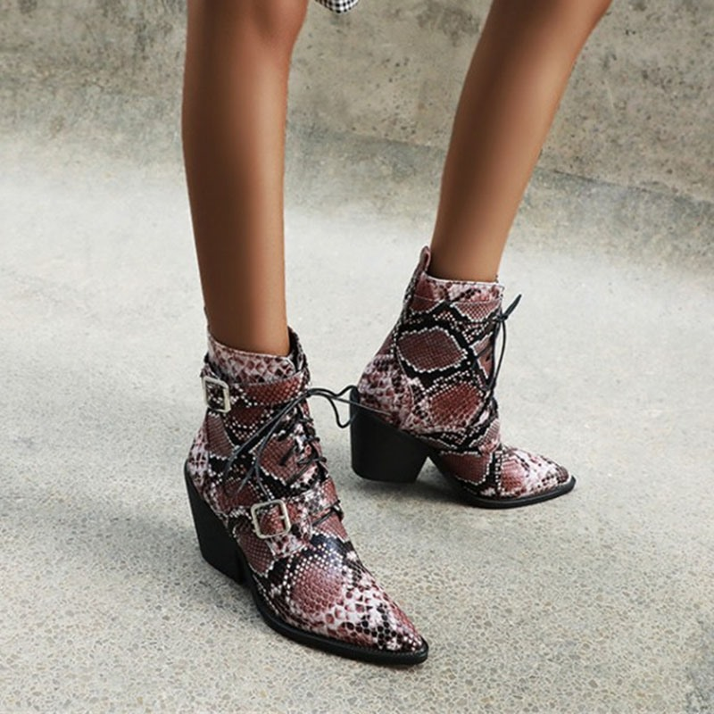 Ericdress Pointed Toe Lace-Up Front Casual Boots
