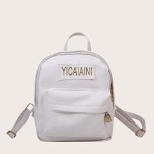Girls Letter Patch Pocket Front Backpack