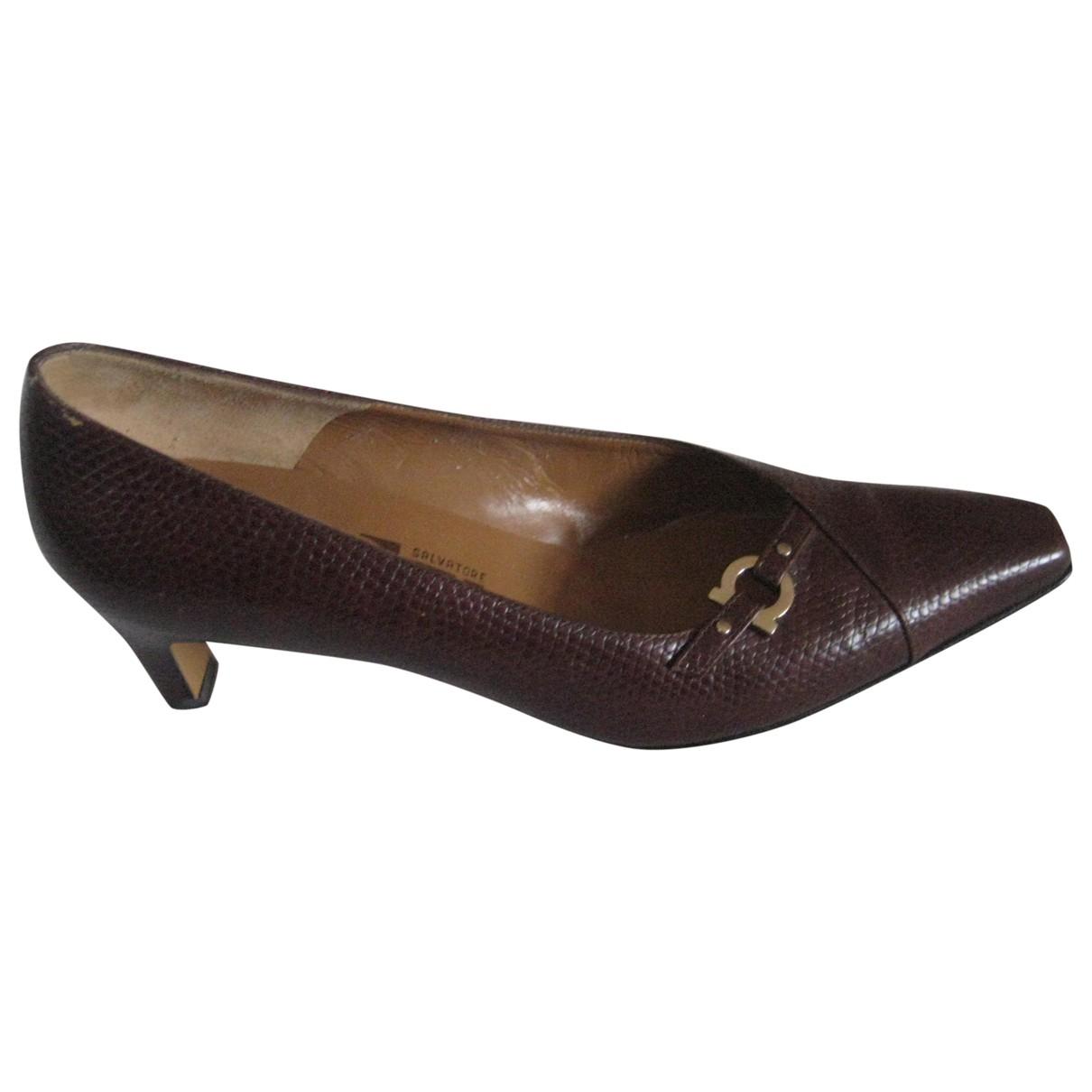 Salvatore Ferragamo N Brown Leather Heels for Women 8 US
