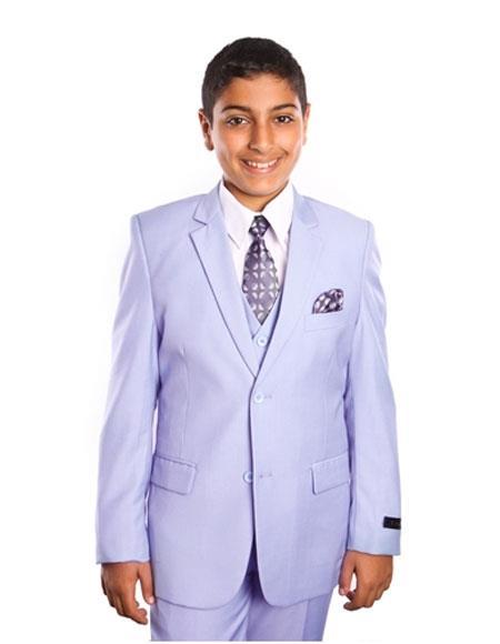 Boy's Kids Toddler Color Children Suits Vested 2 Button Solid Lavender