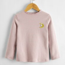 Toddler Girls Lettuce Trim Moon Patched Striped Tee