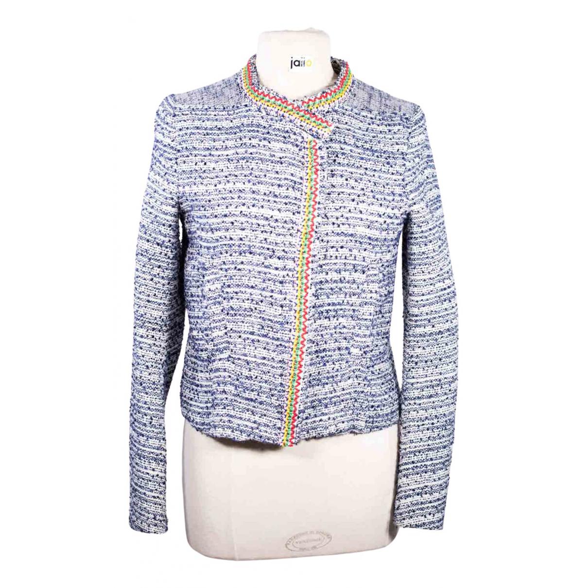 Maje - Veste   pour femme en tweed - bleu