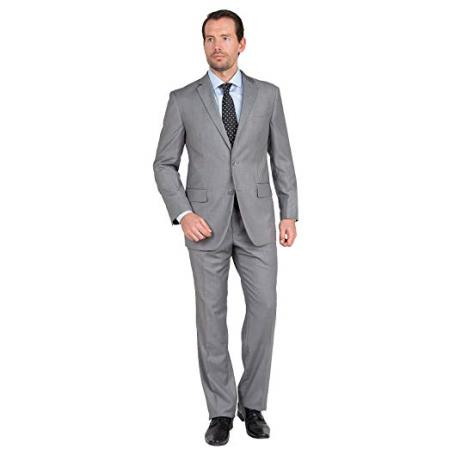 Mens Single Breasted Notch Lapel Two Button Gray Suit